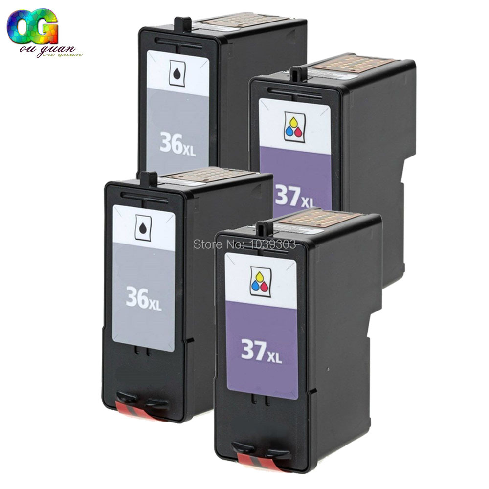 4PK Lexmark 36 37 Ink Cartridge 18C2130 18C2140 HY Compatible For Lexmark X5650 X6650 X6675 Printer 1pk color ink cartridge for lexmark 18c0190 for lexmark x2480 x3480 printer