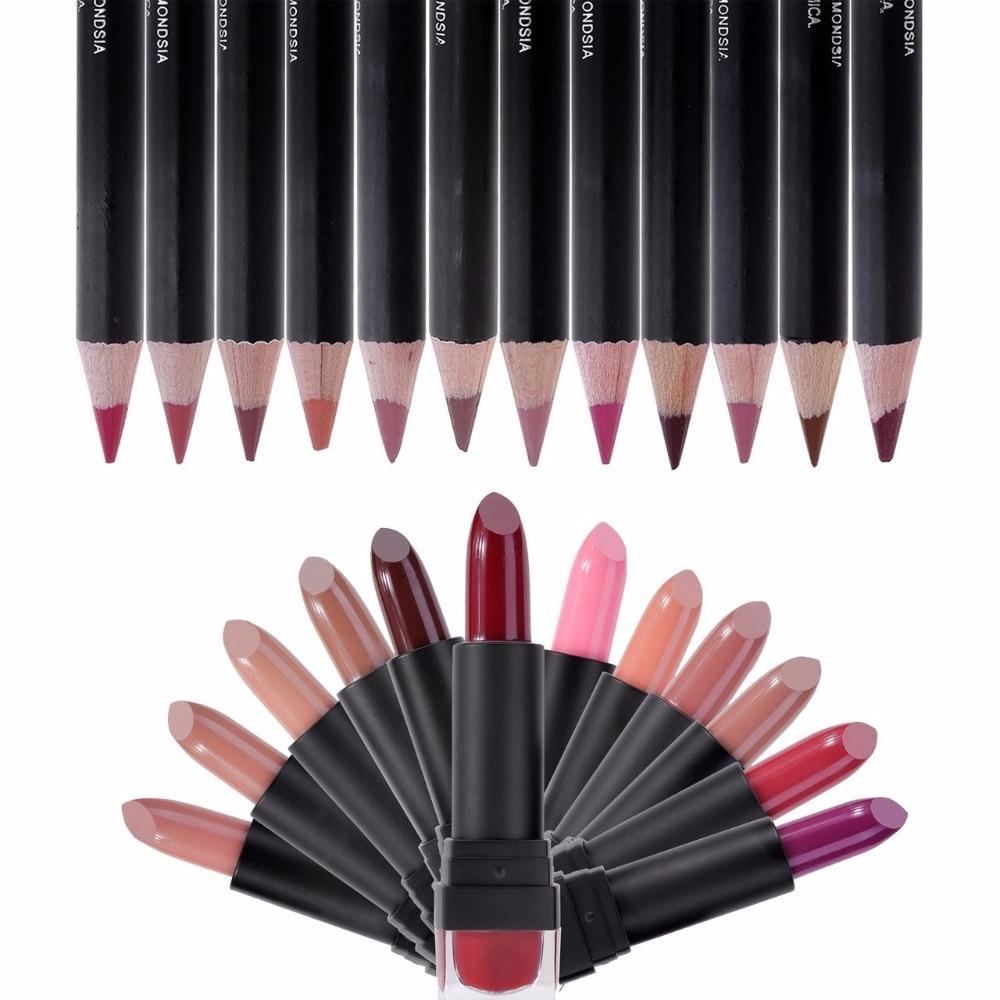 ФОТО IMAGIC Waterproof Matte Lipstick   Fashion  Makeup  Lipstick Waterproof 12 Colors Lipstick + 12 color lip liner Pencil