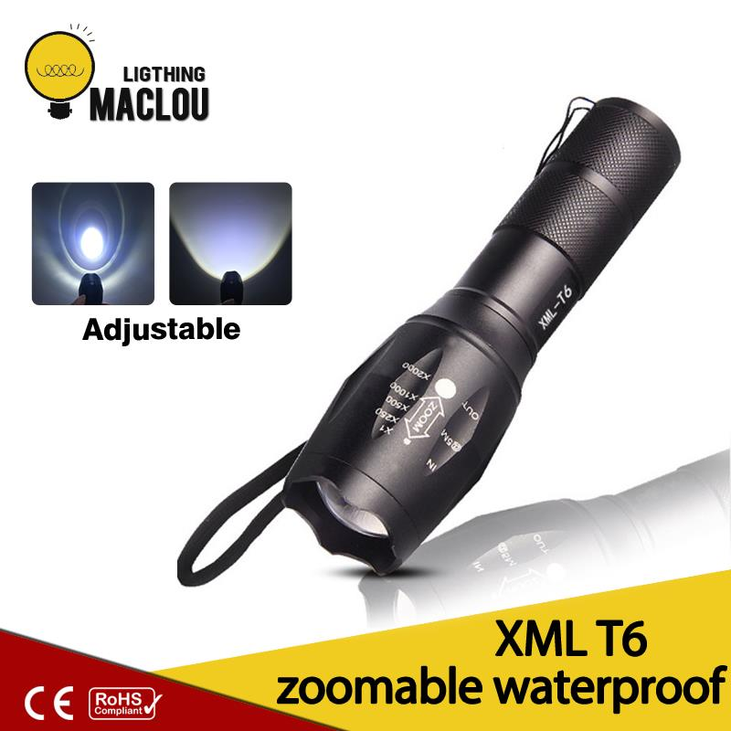 MACLOU High Power CREE XML-T6 Waterproof LED Flashlight Waterproof Zoomable Torch lights with 18650 battery фонарик ultrafire cree xml t6 cree xml t6 zoomable 2000lm 2 18650 dc fl028b bt021