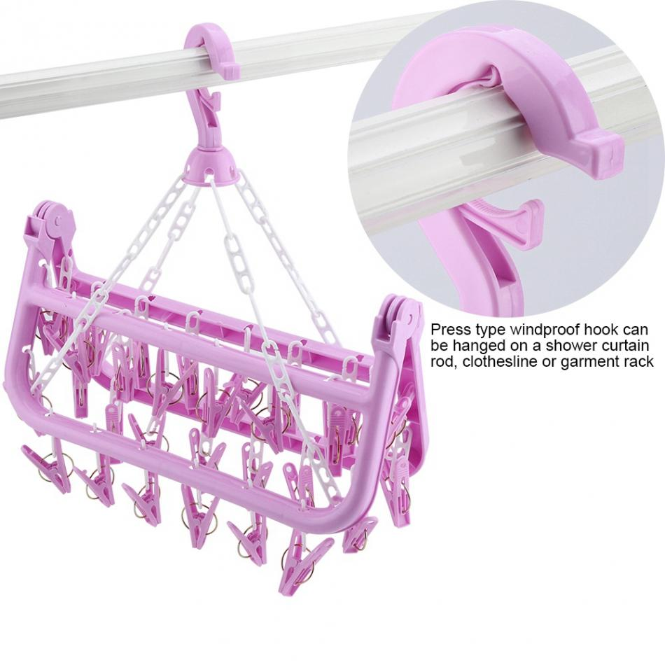 Foldable Clothes Hanger cloth clips holder Windproof Socks Underwear Drying Rack
