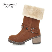hot deal buy fanyuan woman mid calf boots new woman thick bottom platform shoes woman boots high heel woman fur collar motorcycle snow boots