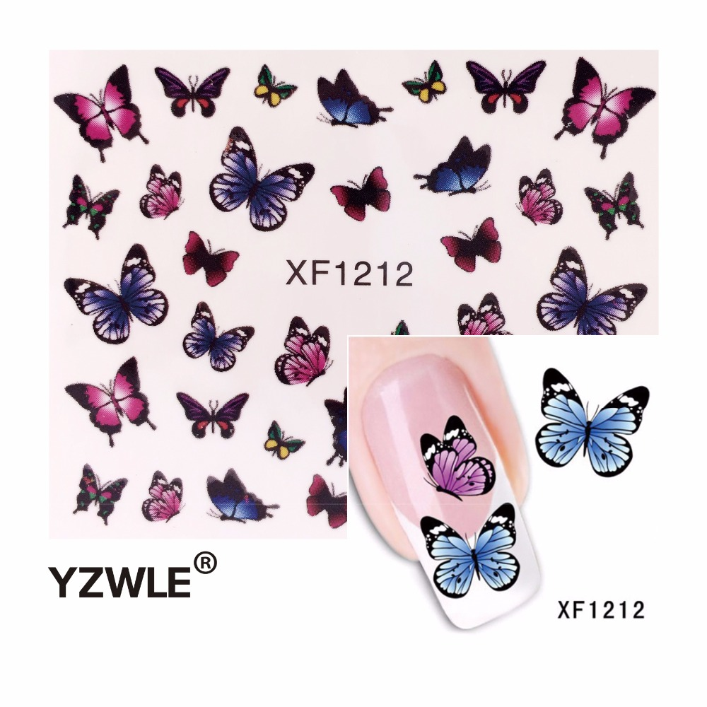 YZWLE Fashion Cute DIY Nail Watermark Butterflies Tip Nail Art, Nail Sticker & Decal Manicure Nail Tools yzwle 3d french style white lace bow nail art sticker decal manicure tip nail art decoration xf ju079