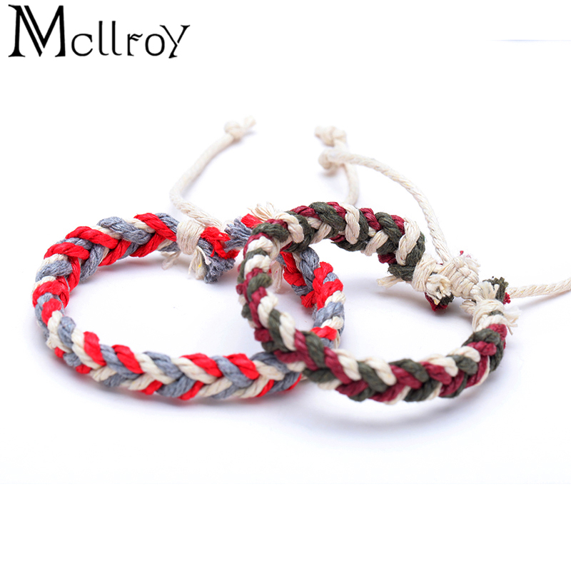 Mcllory Men Bracelet Charms Cotton Rope Diy Handmade Woven