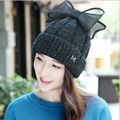 [Dexing]2016 brand new thick section elegant  cap with a bow Knitting beanies winter  Hat for women