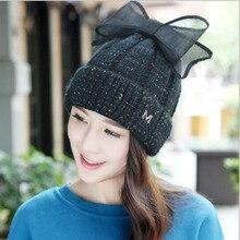 [Dexing] 2016 новый толстая раздел элегантный cap с бантом Вязание шапочки зимняя Шапка для женщин