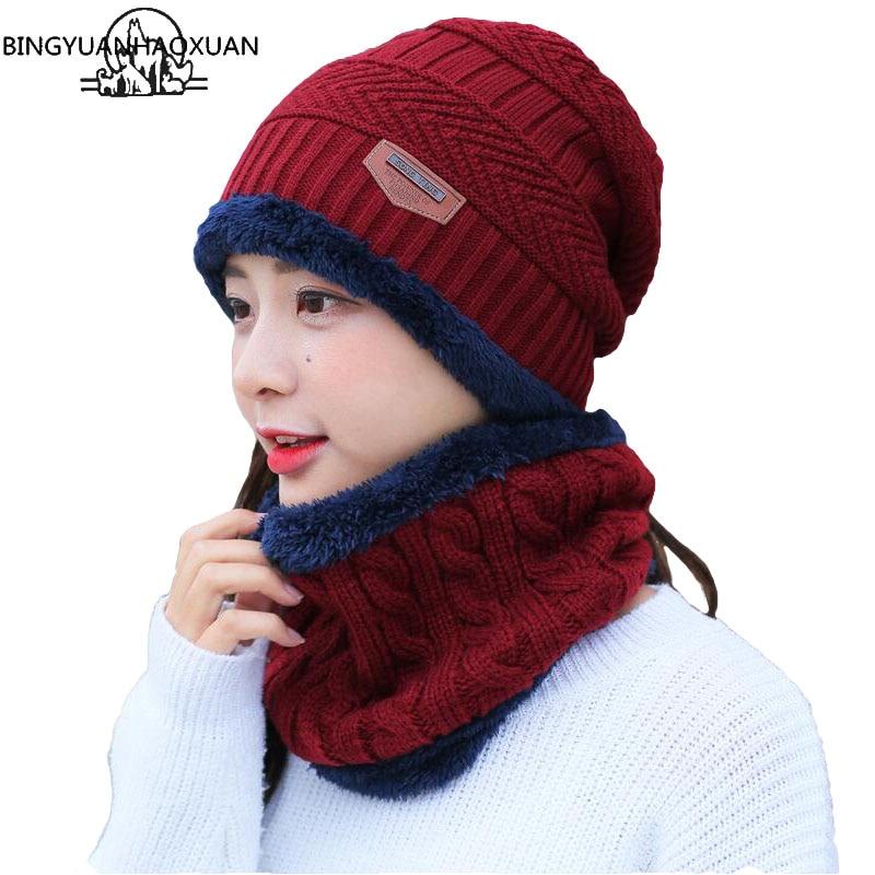 BINGYUANHAOXUAN 2019 Winter Beanie Hat Scarf Skullies Cap Skull Warm Baggy Mask Gorros Winter Hats For Men Women Knitted Hat beanie