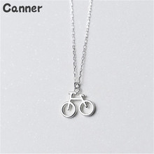 Canner 925 Sterling Silver Necklace Bicycle Bike Pendant For Women Girl Fashion Gift
