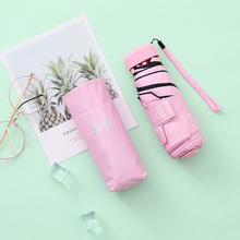 8 Colors  Ultra Light Mini Umbrella Women Sun Sunshade UV Protection Sombrilla for Rain and Five Folding Pocket