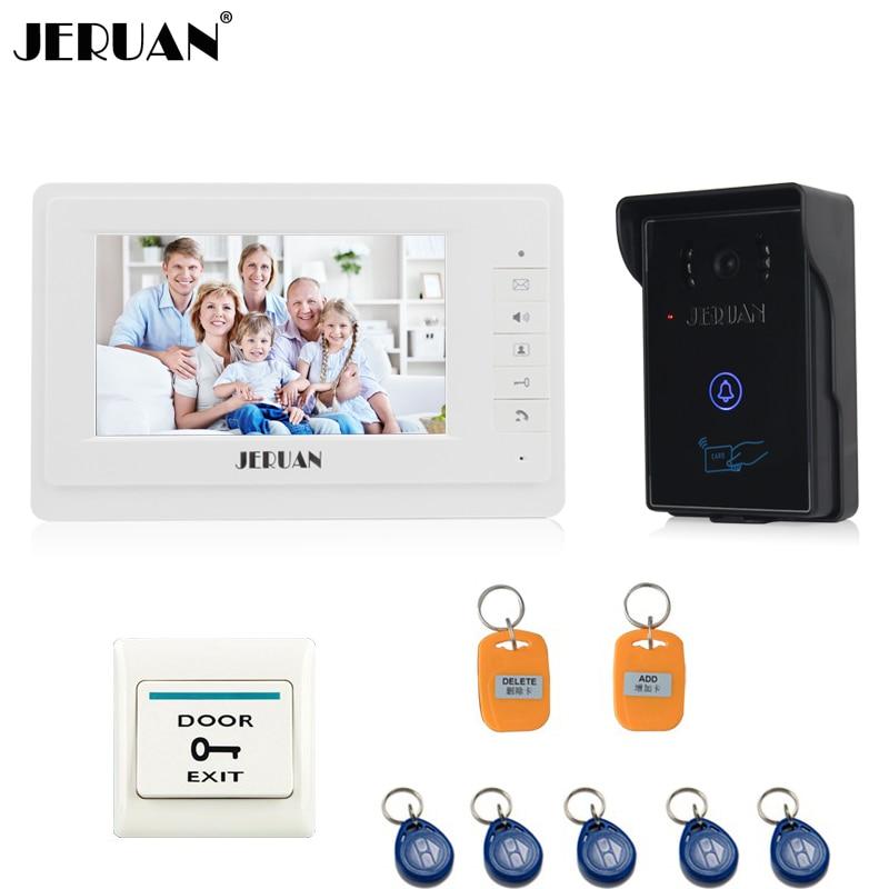JERUAN 7 inch video doorbell intercom system door phone speaker intercom outdoor inductive card & touch panel
