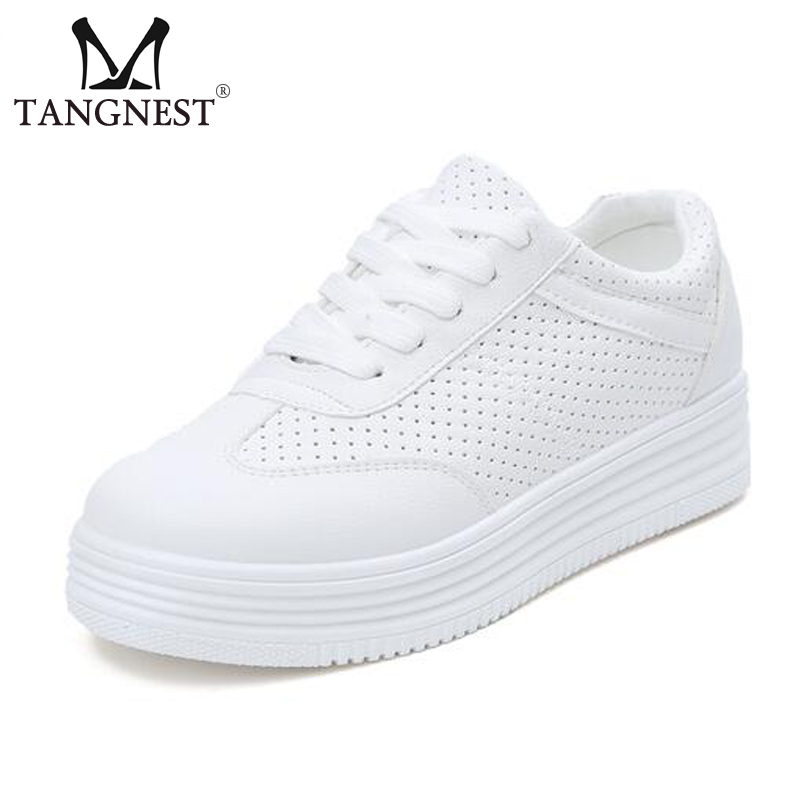 Tangnest NEW Casual White Shoes Breathable Cut-out Lace-up Creepers Women Solid PU Leather Platform Flats Woman Shoes XWD5850