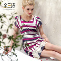 new women's mulberry silk print short-sleeve nightgown silk one-piece dress