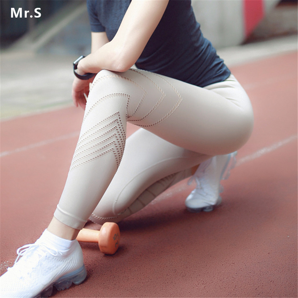 New Pink Sports Pants for Women Mesh Yoga Leggings Power Flex Workout Pants Wide Waist Workout Running Tight Hollow Out Trousers Брюки