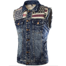 Mens Jean Jacket Fashion Slim Cowboy Jacket US Flag Denim Jacket Vest Sleeveless Men Bomber Jacket Bape Male Overcoat MT2