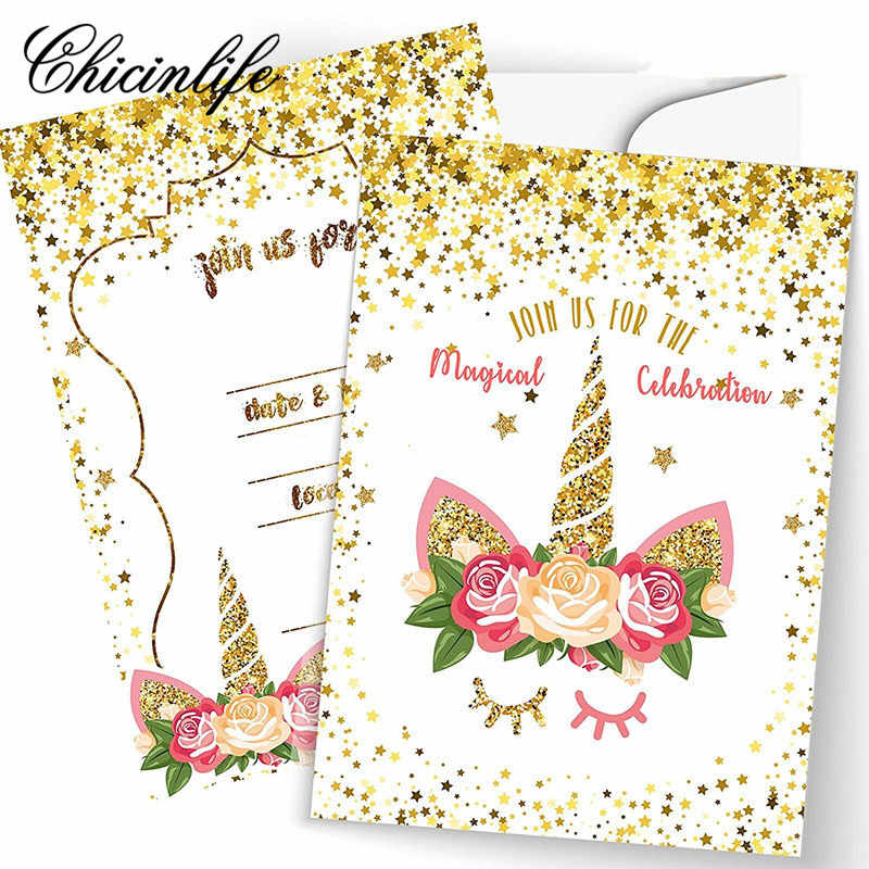 Detail Feedback Questions About Chicinlife 5pcs Unicorn Invitations