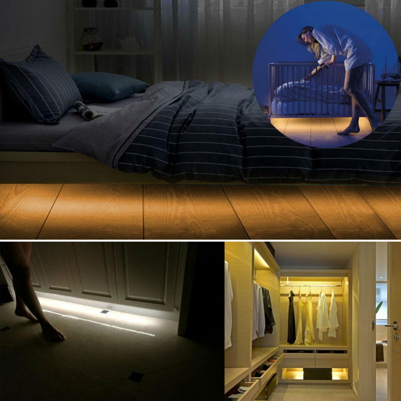 4AA Battery Powered LED Night Light Motion Activated LED Strip Lights with Sensor for Children Baby Under Bed Closet Lamp led strip lights warm white waterproof motion activated sensor timer bed night light for kids bedroom closet cabinet kitchen