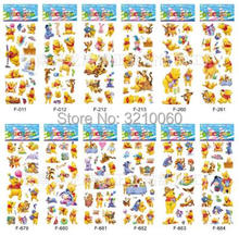 12 sheets/lot 3d Cartoon Winnie the Pooh Kids Stickers Toys Bubble stickers Teacher Lovely Reward Stickers kids gifts adhesive 3 sheets different 3d stickers cute cartoon toys fun toys for kids on the page of stickers stickers laptop phone gifts animals