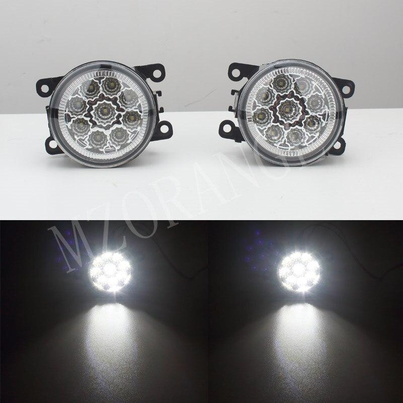 MZORANGR 6000K 12V car-styling DRL For Peugeot 207 307 407 607 3008 SW CC VAN 2000-2013 Fog Lamps lighting LED Lights 9W /1 SET