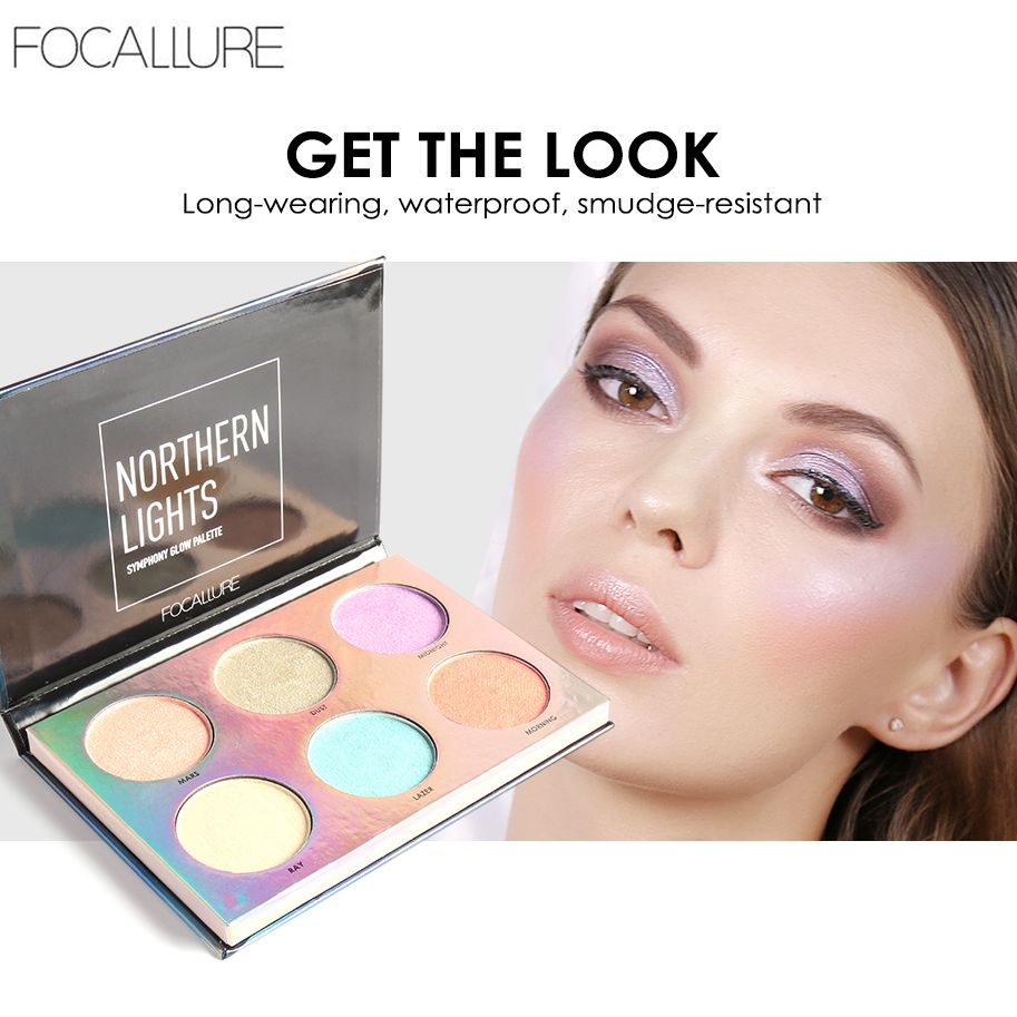 Focallure Shimmer Highlighter Palette 6 Colors Glitter Face Contouring Illuminator Waterproof Highlight Makeup Powder Glow Kit цены онлайн