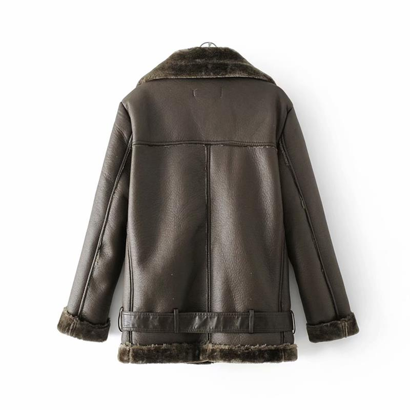 HTB1jefEXifrK1RjSspbq6A4pFXa4 - Warm women's wintemotorcycle velvet jacket female short lapels fur thick Korean version plus velvet jacket bomber jacket