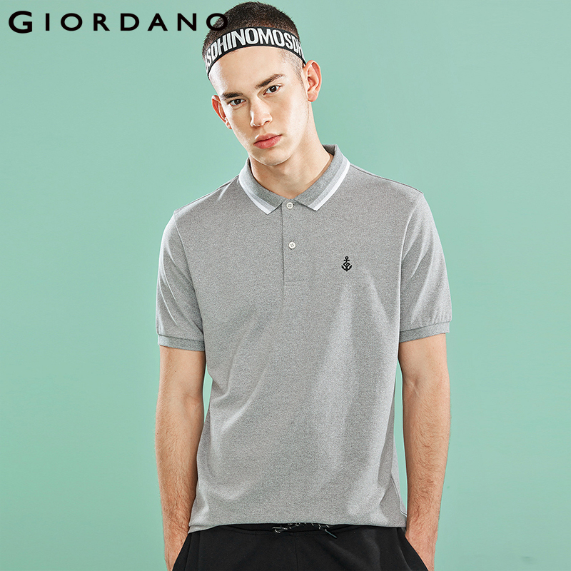 Giordano Men Polo Shirt Men Pique Embroidered Pattern Slim Cutting Polo Men Shirt Short-sleeve Side Vents Stretcy Camisa Polo