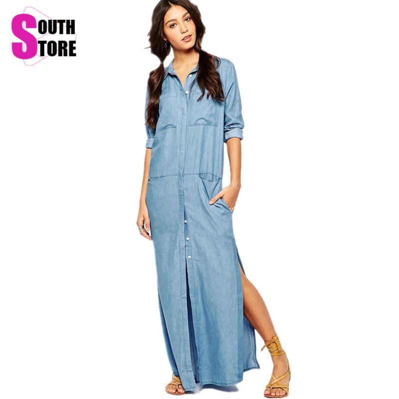 European 2016 Denim Dress Fashion Loose Summer Side Slit Shirt