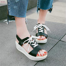 91616c57c20 NAYIDUYUN 2018 Women Lace Up High Heel Roman Gladiator Sandals Wedge  Platform Party Pumps Casual Oxfords Summer Punk Greepers