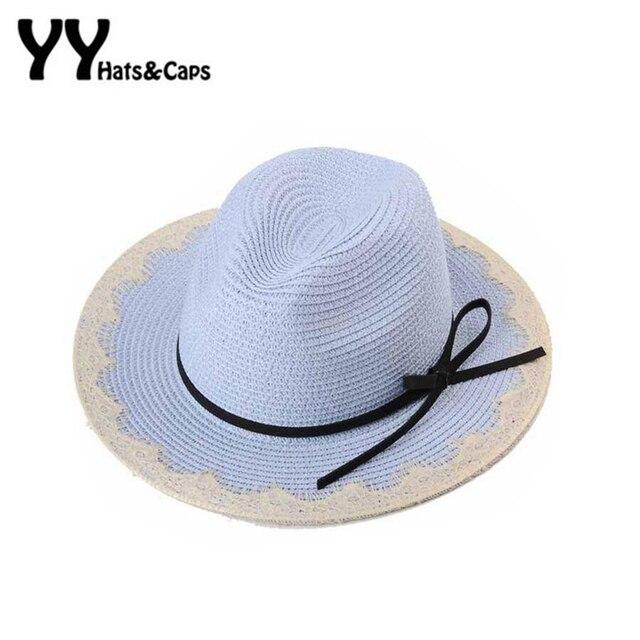 Fashion Summer Sun Hats For Women Lace Brim Straw Hats Girls Wide Brim Beach Caps Girls Tea Party Hat Elegant Bow Panama YY60206