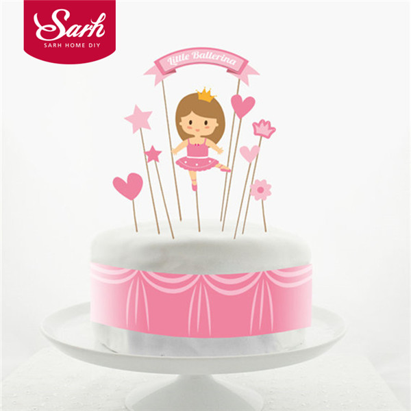 Lovely Pink Series Cartoon Girl Star Heart Crown Happy Birthday Cake