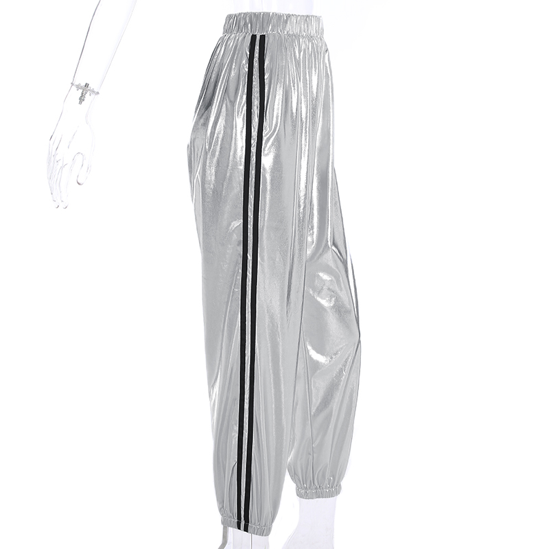 New Fashion Satin High Waist Sweatpants Women High Waist 2019 Pencil Pants Side Stripped Casual Leather women joggers Pants in Pants amp Capris from Women 39 s Clothing