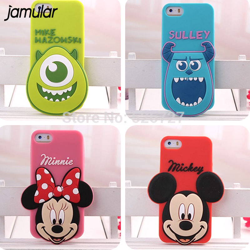 JAMULAR 3D Cartoon Silicone Case For iphone SE 5 5s Mike Sulley Mickey Minnie Mouse Phone Cases Cover for iphone 5s SE 4 4s