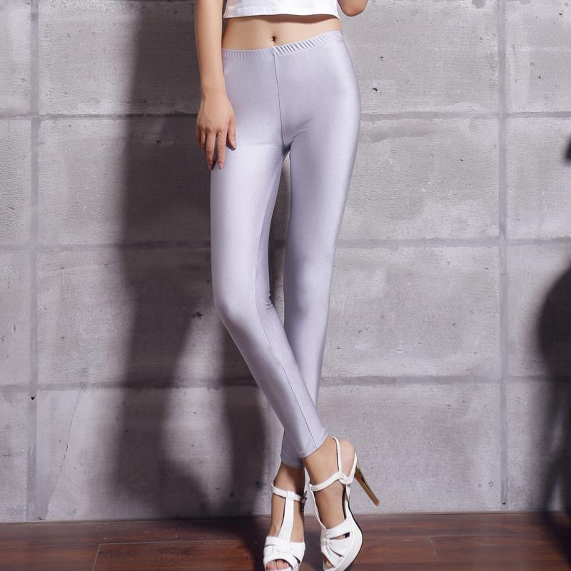 Women Solid Color Fluorescent Shiny Pant Leggings Spandex Shinny Elasticity Casual Trousers 43