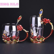 XING KILO  European enamel rose crystal cup with fine spoon couple set glass heat super adorable cute high-end gift