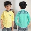 YN-0710, children boys shirts, long sleeve stand collar solid shirts