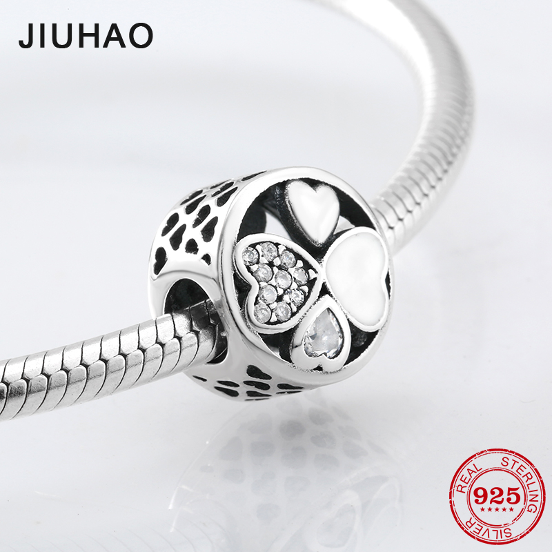 925 Sterling Silver Sparking luck heart flower beads with clear Crystal zirconia Fit Original Pandora Charms Bracelet Jewelry