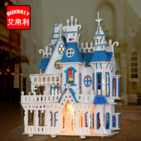 Princess Castle Wooden Miniatures Doll House 3D Combination Dollhouse With Furniture Building Model Warm Home Kids Lover Gift