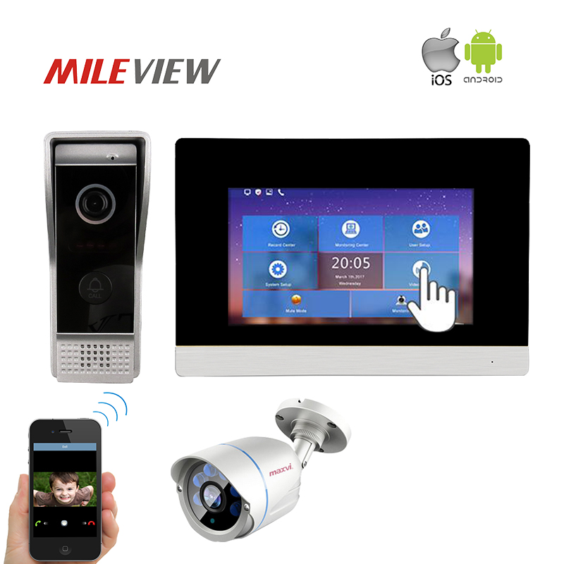 Free Shipping NEW 720P IP WIFI 7 Touch Screen Video Intercom Door Phone Record Kit APP for Phone IP Bullet CCTV Security Camera 2016 new calls recorder for mobile phone record phone call on time for any phone size free shipping