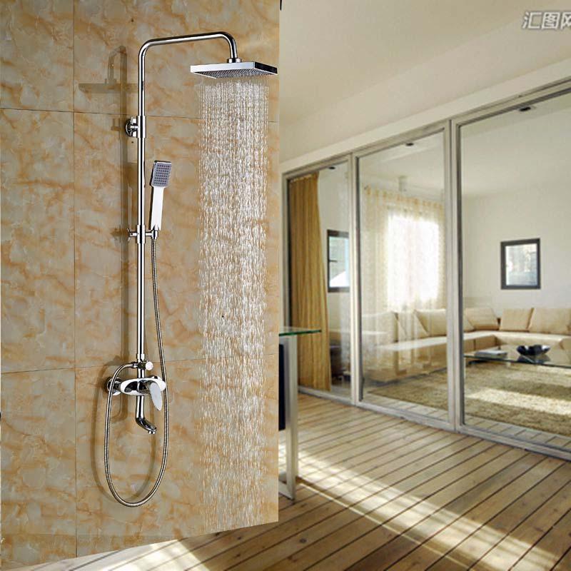 NEW Chrome Finish 8 Rain Shower Faucet Swivel Spout Tub Mixer Tap Hand Shower thermostatic valve mixer tap w hand shower tub spout tub faucet chrome finish