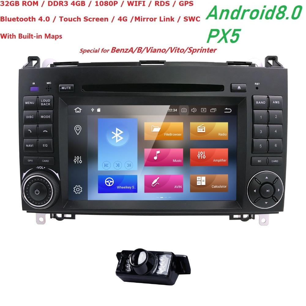 7IN 2 Din Android 8.0 4G+32GCar DVD Player GPS PX5 For MercedesBenzSprinterW209W169VianoVitoB200 4G WiFI MIRROR LINK