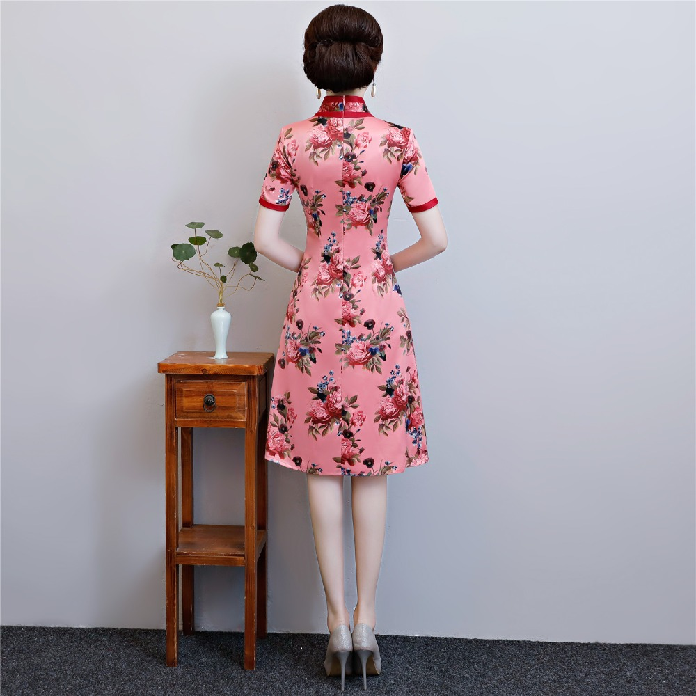 Cheongsam Femmes Soie Shanghai Folk Rose Pour Robe Histoire Longueur Dai Faux Style Qipao Genou Ao Chinoise uT13FlKcJ