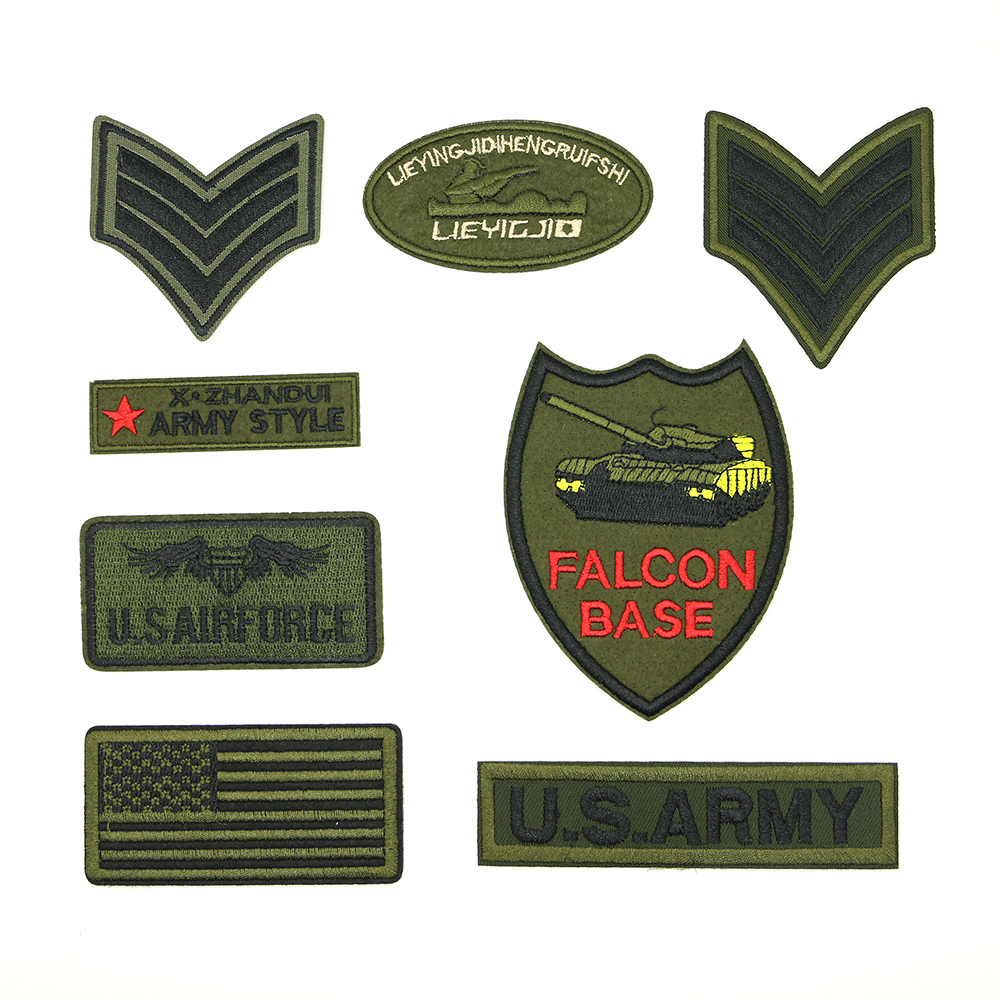 2018 New 1 pcs Iron-on Antique Green Badge tactical Exquisite handmade DIY patch D-035