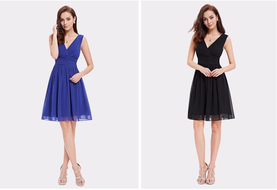 Beige Elegant V Neck Bridesmaid Dress: Elegant Double V-Neck Short Bridesmaid Dress
