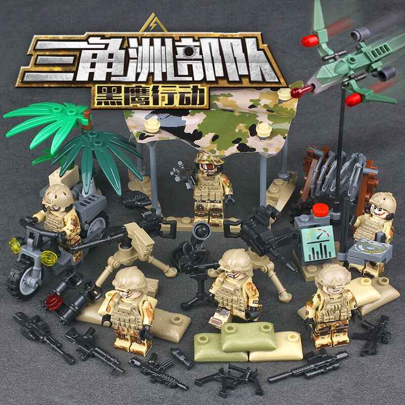 Modern military brickmania army minifigs Black Hawk action building block United States Delta Force figures weapon bricks toys