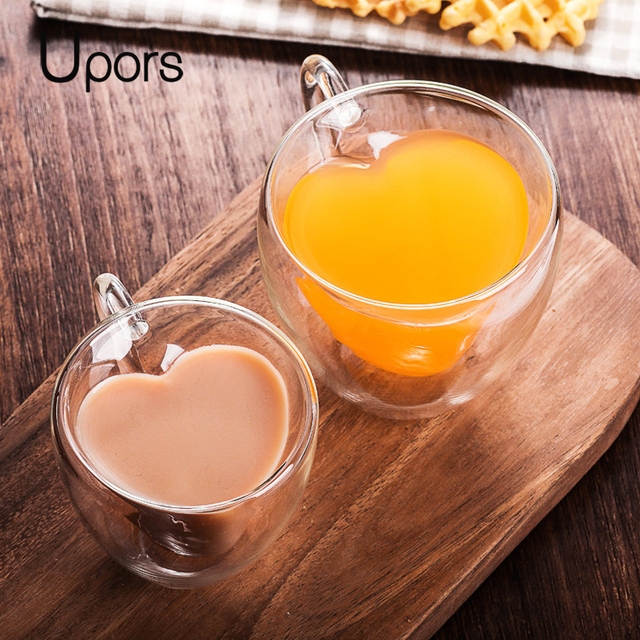 UPORS ręcznie podwójne ściany szklany kubek do kawy, odporny na ciepło, izolowane w kształcie serca w kształcie serca kubek herbaty Mini podwójna warstwa ekspres do kawy Espresso kubek Latte