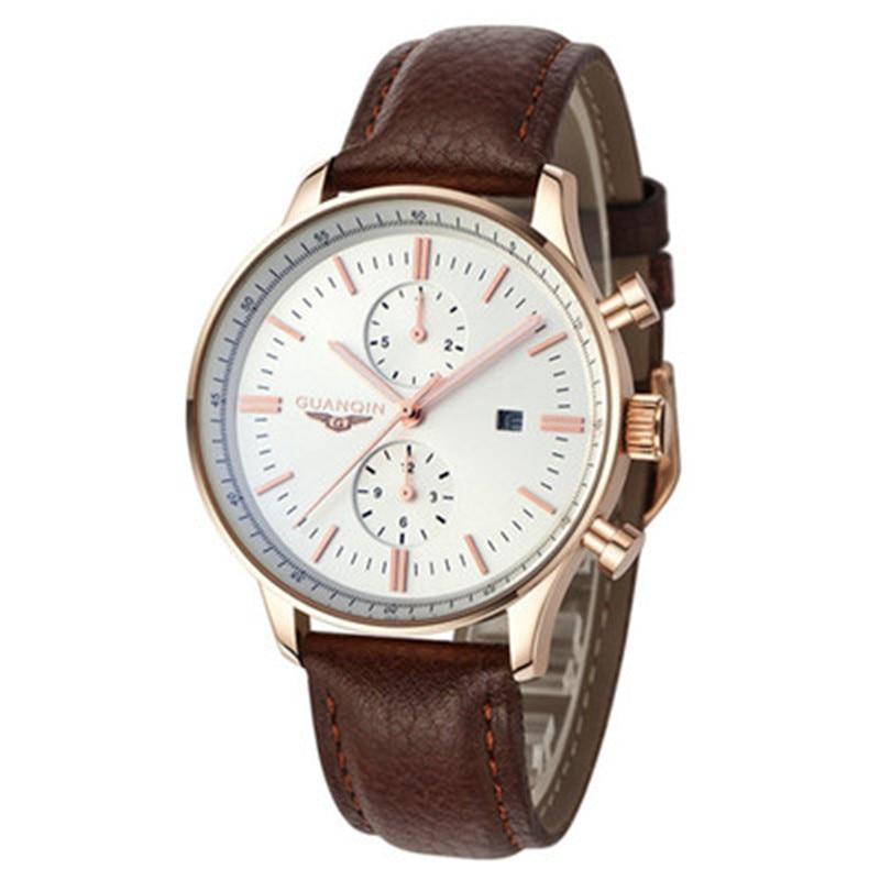 ФОТО Original GUANQIN Men Watch Luminous Men Leather Watches Fashion Business Men Quartz Watch 30 Waterproof Wrist Watch for Men