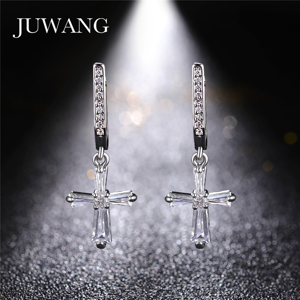 Retro Cross earrings Sterling Crystal Row Luxury Silver Color Earrings 2019 New statement earrings Dangling For Women Jewelry