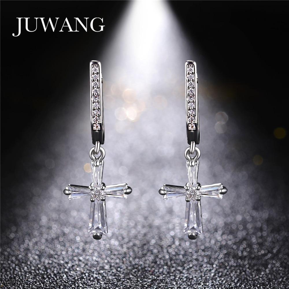 Retro Cross earrings Sterling Crystal Row Luxury Silver Color Earrings 2019 New statement earrings Dangling For Women Jewelry