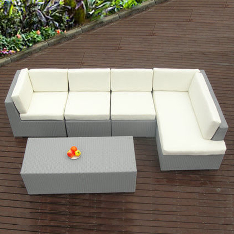 5-pcs PE Rattan Patio Furntiure Pastoralism Home Indoor / Outdoor Rattan Sofa For Living Room