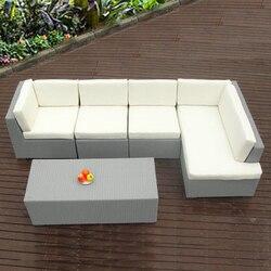 5-pcs PE rattan patio furntiure Pastoralism Home Indoor / Outdoor Rattan Sofa For Living Room