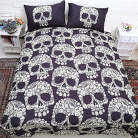 3D Skull Bedding Sets Queen Size Plaid Duvet Cover With Pillow Case Bed Europe Style Cool