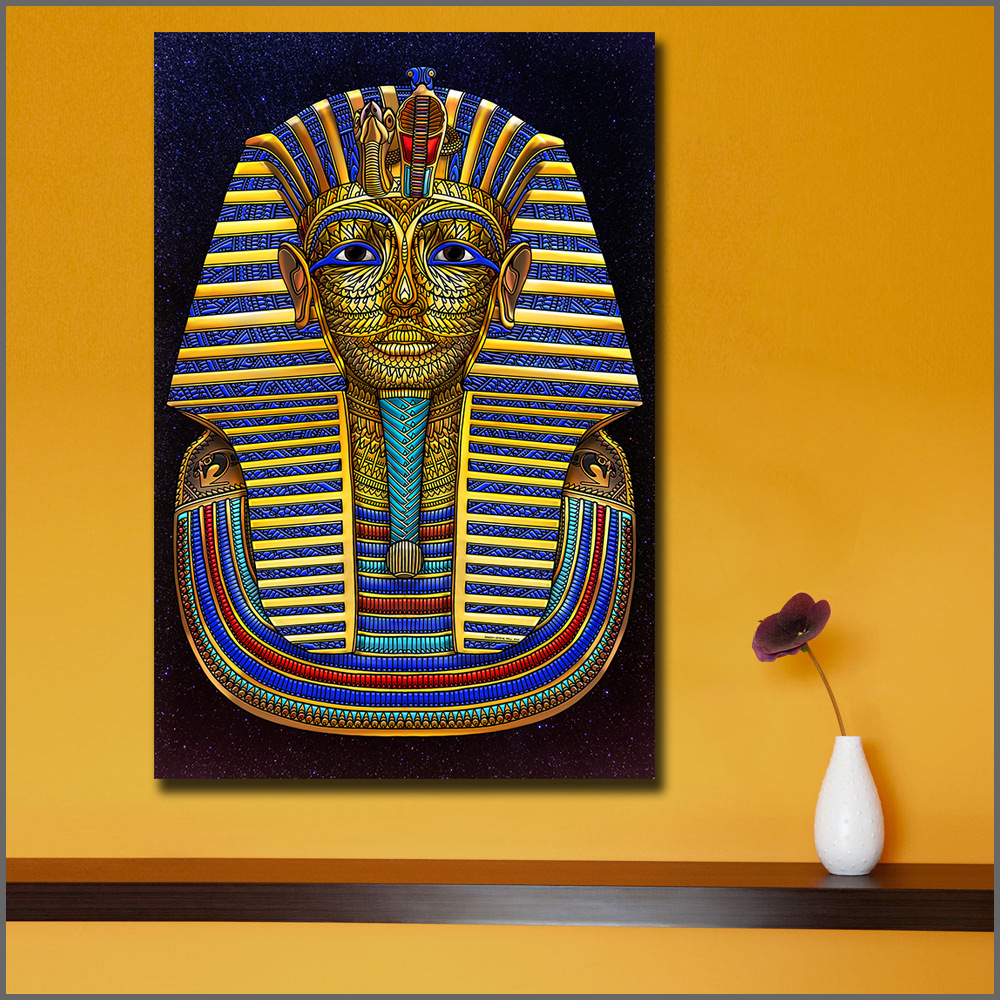 Large size Printing Egyptian King Tut Death Mask Wall Art Picture ...